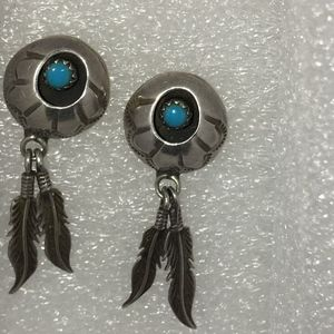 GENUINE TURQUOISE SOUTHWEST Navajo FEATHER EARRING